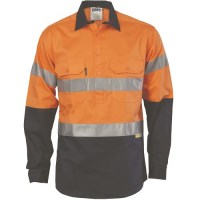 DNC 3949 HiVis Cool-Breeze Close Front Cotton Shirt with 3M R/Tape - Long Sleeve 1