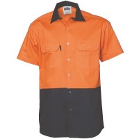 DNC 3980 HiVis Two Tone Cotton Drill Vented Shirt - Short Sleeve 1