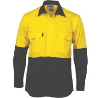 Hi Vis Two Tone Cotton Drill Vented Shirt