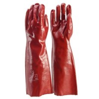 Glove - Red PVC 45cm Open Cuff Size L (Pack of 12)